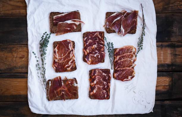 Tapas pork iberico lomo tenderloin stock photo