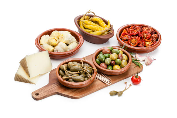 Tapas: typical spanish food isolated on white background - foto stock