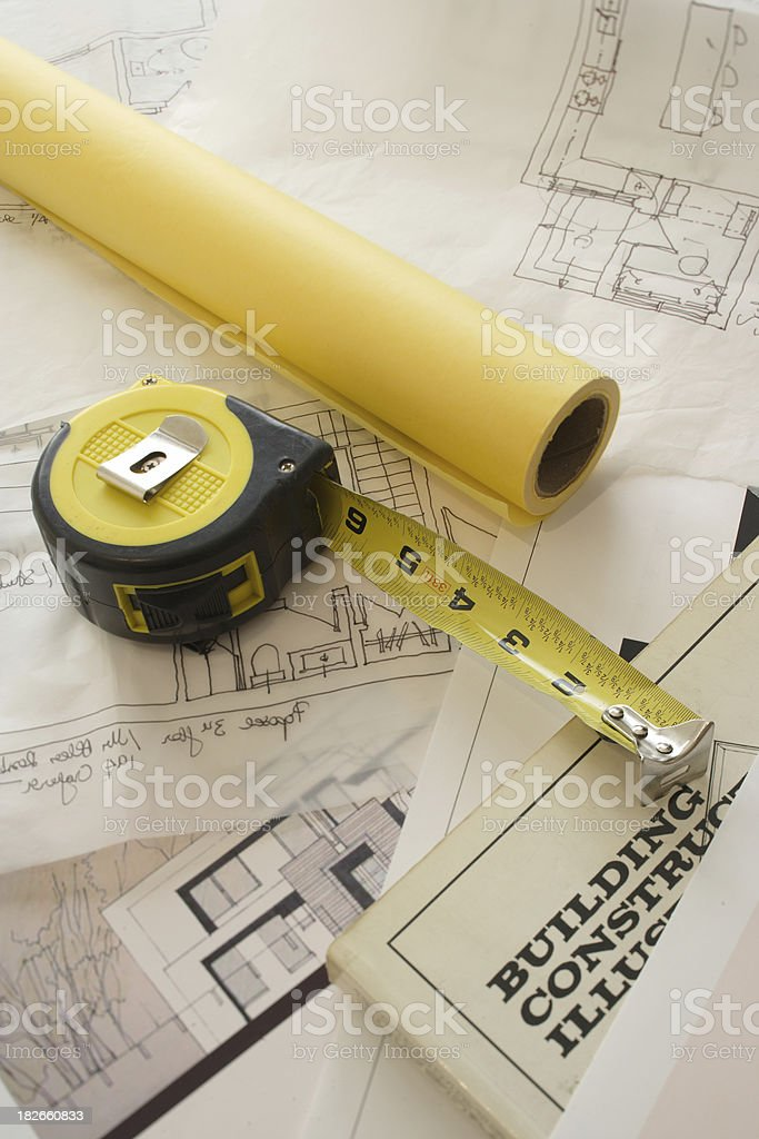 tape and blueprints royalty-free stock photo