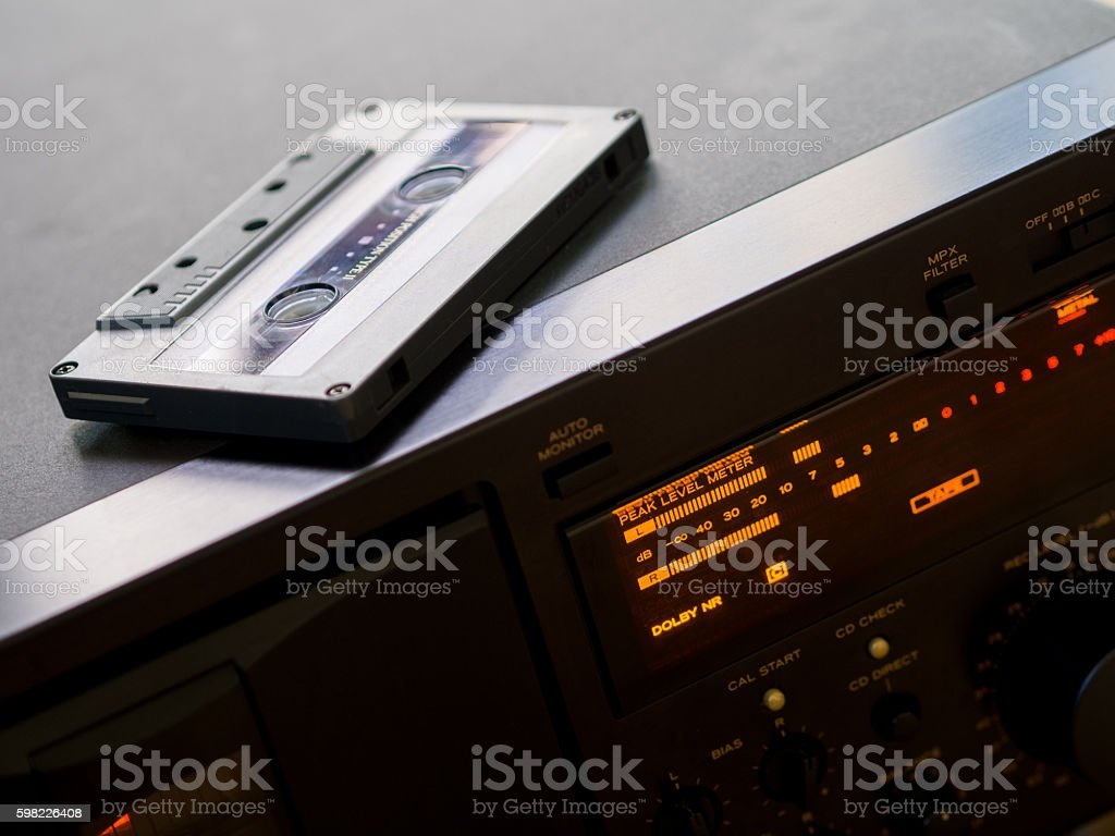 Tape deck riding of the cassette tape foto royalty-free