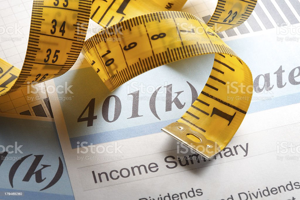 Tape Measure & 401k royalty-free stock photo
