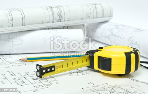 Tape Measure And Drawings Stock Photo & More Pictures of Black Color