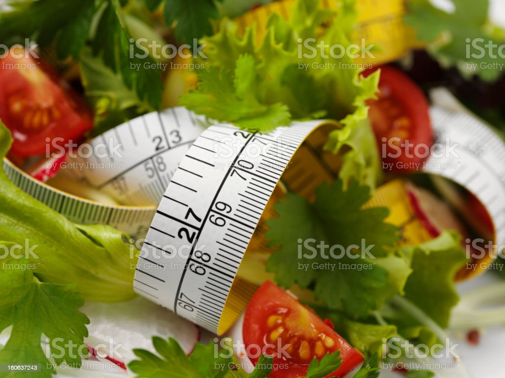 Tape Measure and Salad royalty-free stock photo