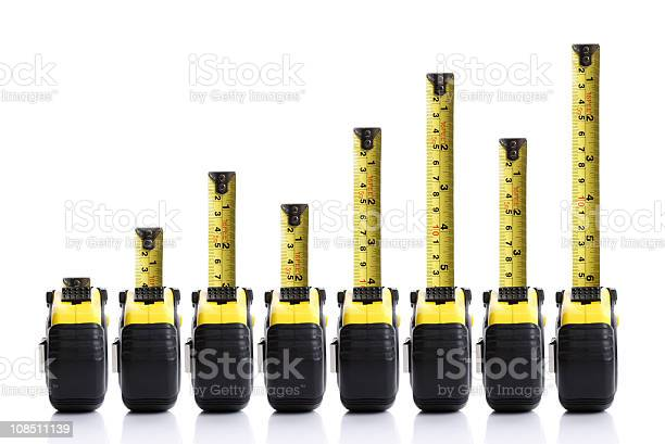 Tape Measure Bar Chart Stock Photo - Download Image Now