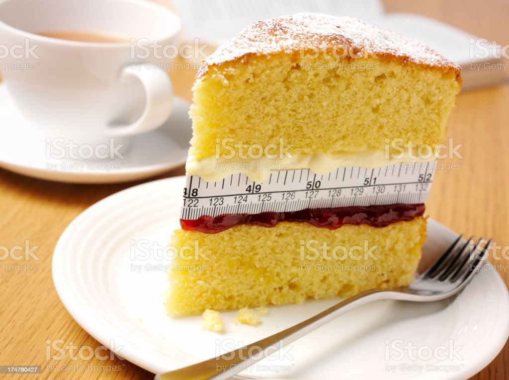 Tape Measure on a Sponge Cake with Afternoon Tea stock photo