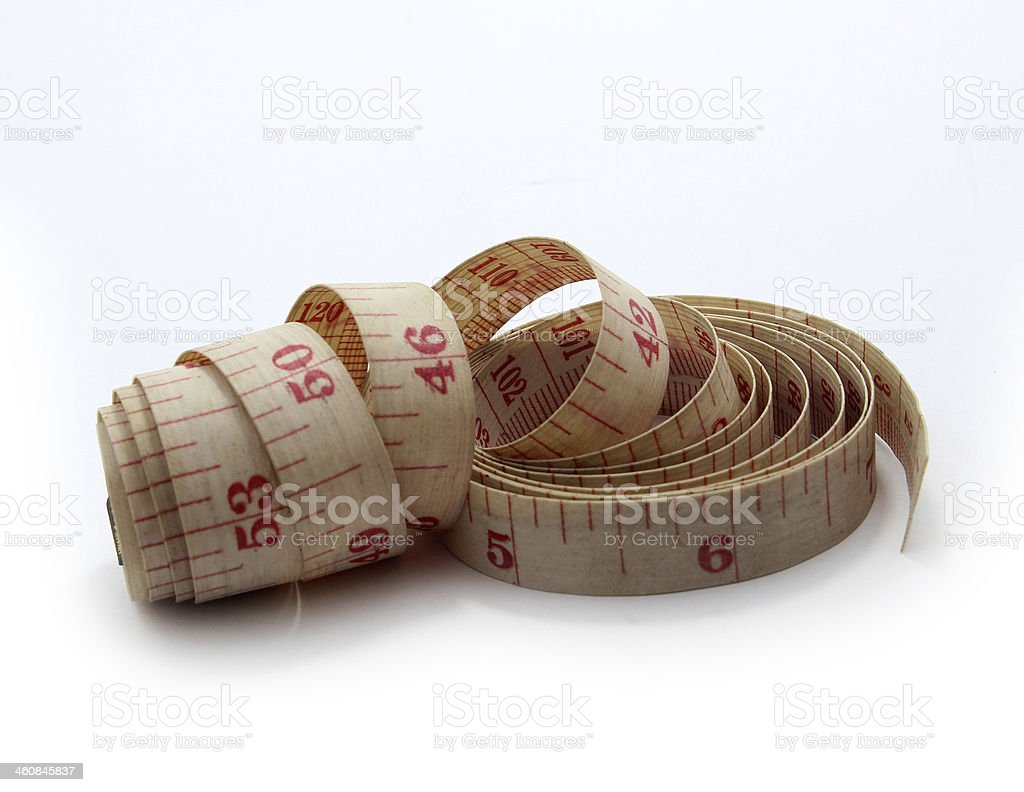 Tape measure on withe background stock photo
