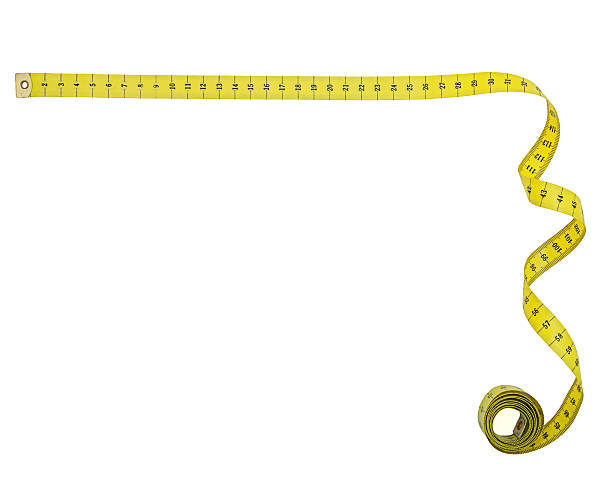 Tape measure right angle corner shape, isolated Background shape or frame tape measure stock pictures, royalty-free photos & images