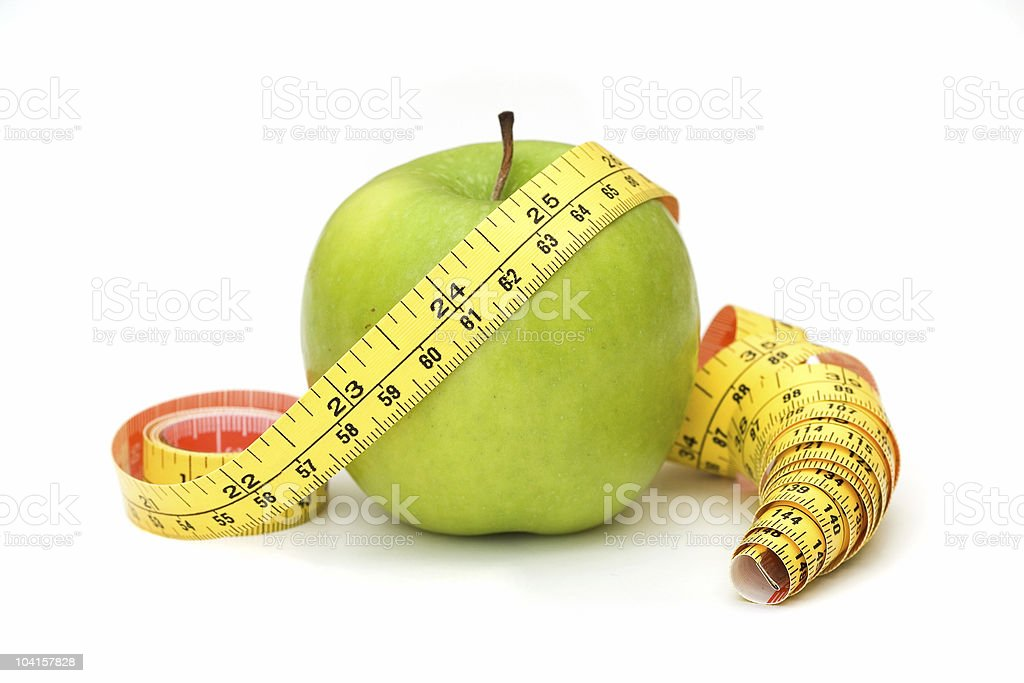 Tape Measure with Apple 2 royalty-free stock photo