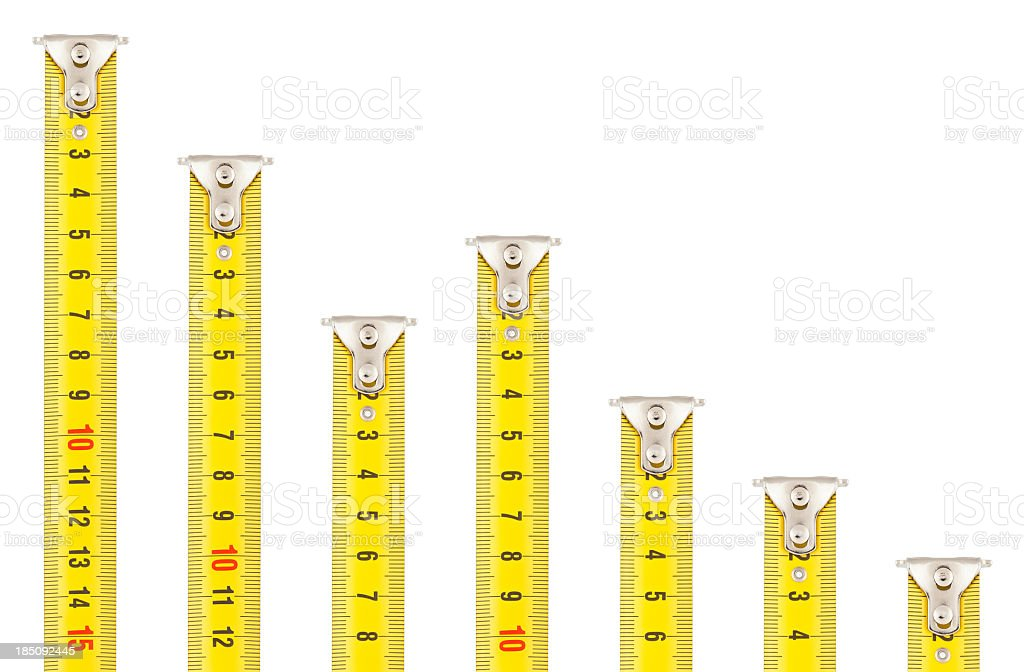Tape Measures - Falling Bar Graph stock photo