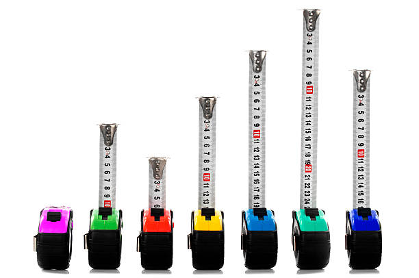 Tape Measures Like a Graph Multi colored tape measures like a graph isolated on white meter instrument of measurement stock pictures, royalty-free photos & images