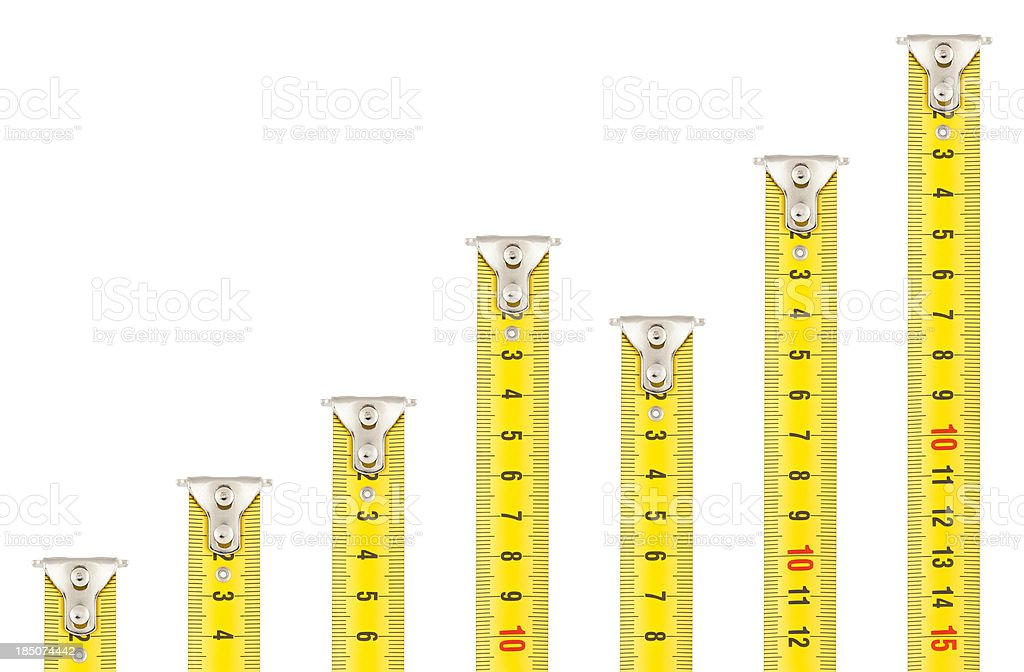 Tape Measures - Rising Graph royalty-free stock photo