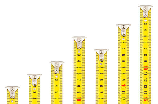 Tape Measures - Rising Graph stock photo