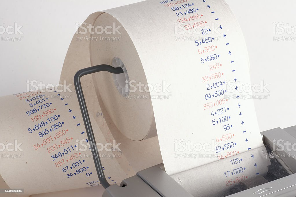 Tape on calculator stock photo