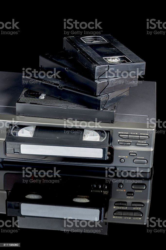 VCR tape player brought out from storage stock photo