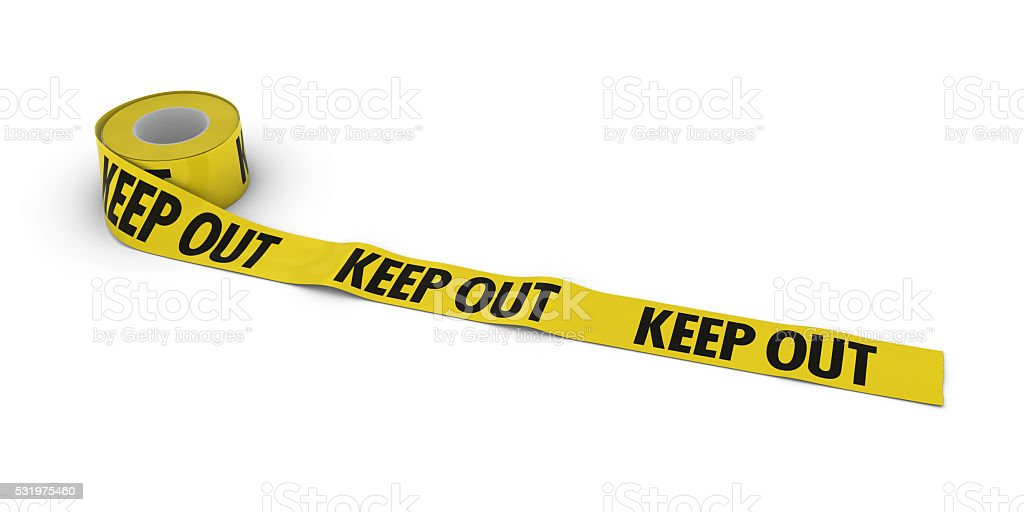 KEEP OUT Tape Roll unrolled across white floor stock photo