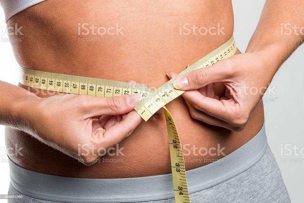 tapeline measures waist stock photo