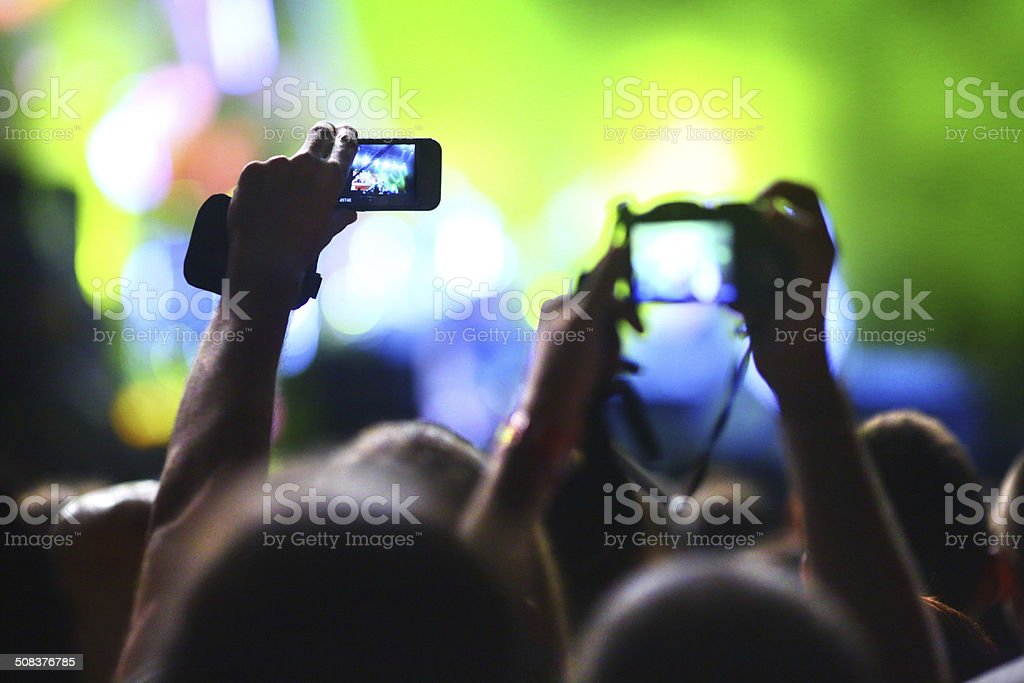 Taping a concert show. stock photo