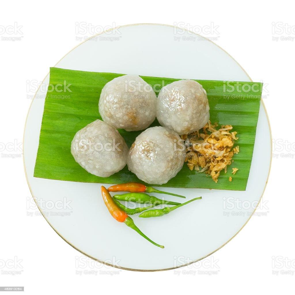 Tapioca Balls with Minced Pork On White Bakground stock photo