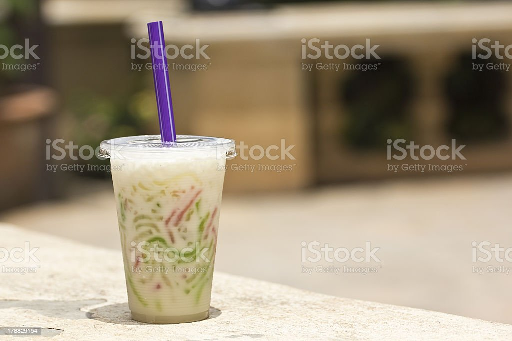 Tapioca flour noodle in sweet coconut milk royalty-free stock photo