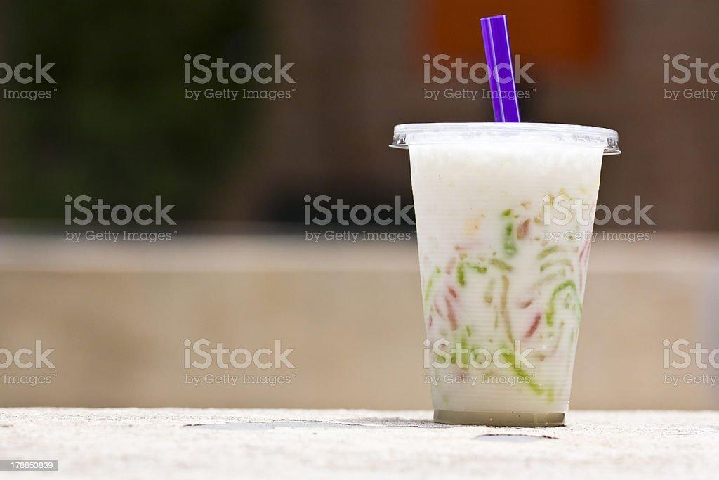 Tapioca flour noodle in sweet coconut milk royalty-free stock photo