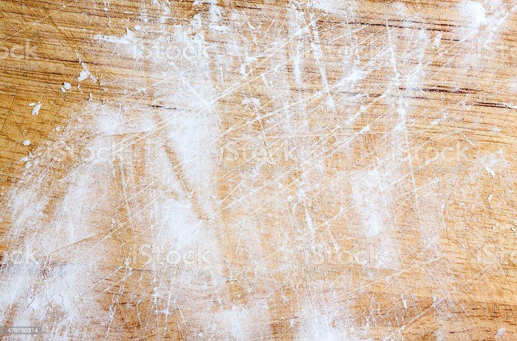 Tapioca flour on chopping block stock photo