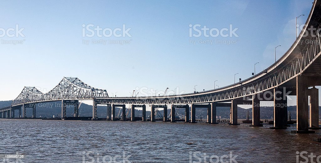 Tappan Zee Bridge under construction on a clear day stock photo