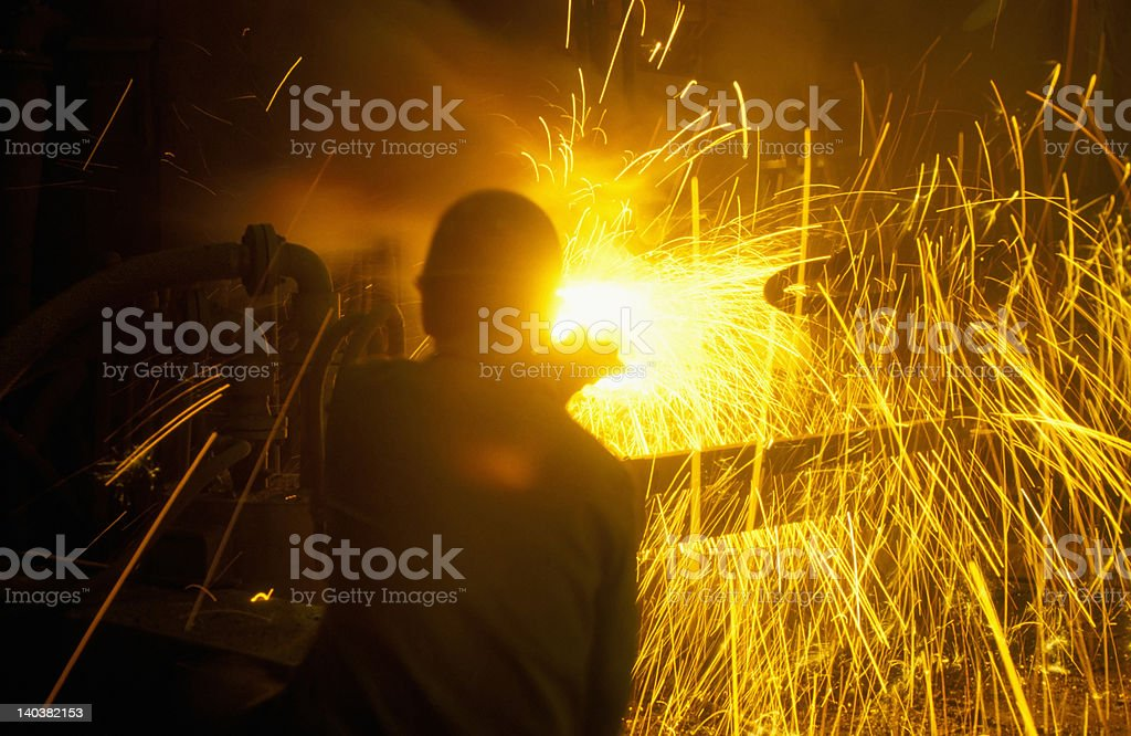 tapping furnace stock photo