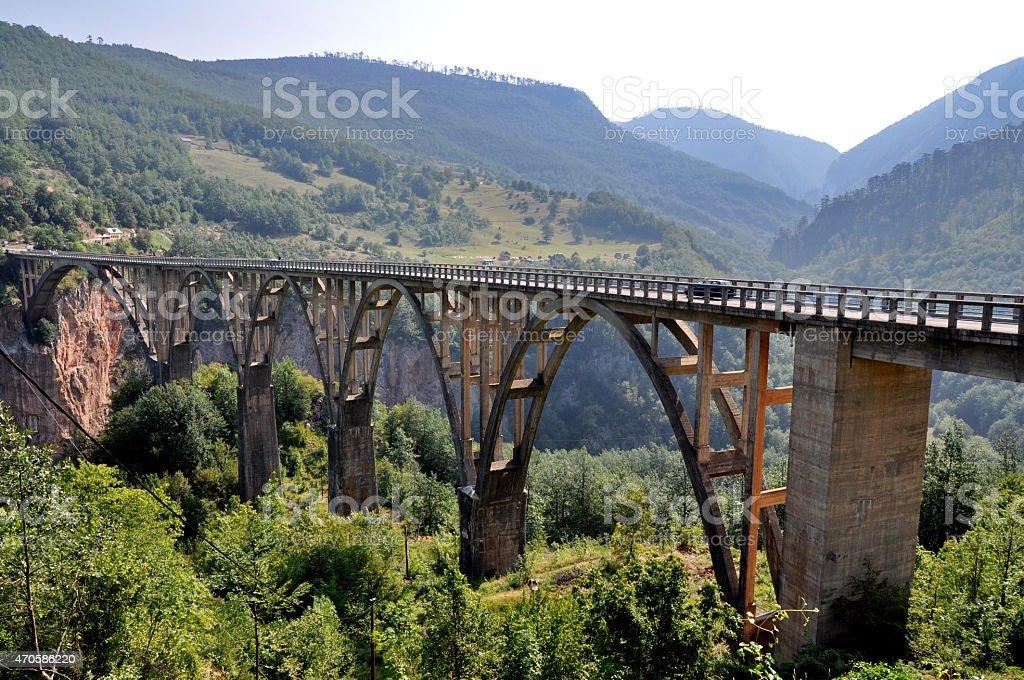 Tara bridge in Monte Negro stock photo