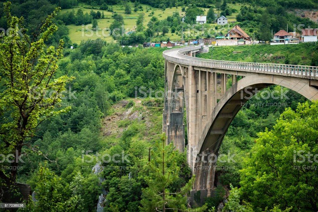 Tara Bridge - the biggest arch bridge in Europe, Montenegro stock photo