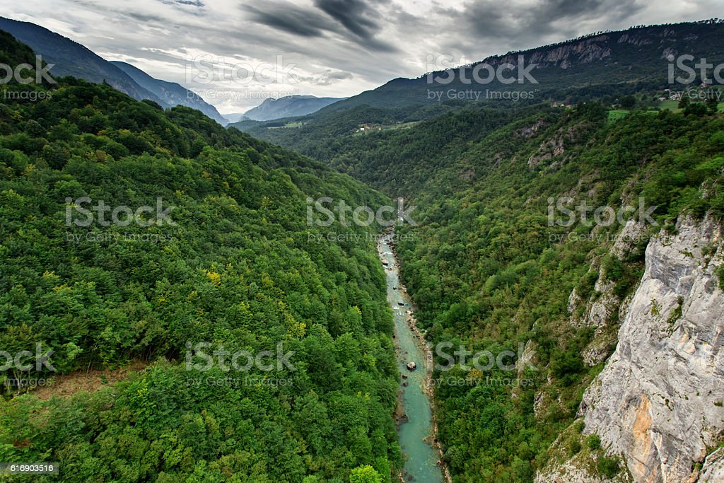 Tara river canyon at summertime, nature landscape. Montenegro stock photo