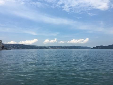 Tarabya Istanbul Strait coast, cloud reflections on June 13, 2020 in Istanbul Turkey Istanbul