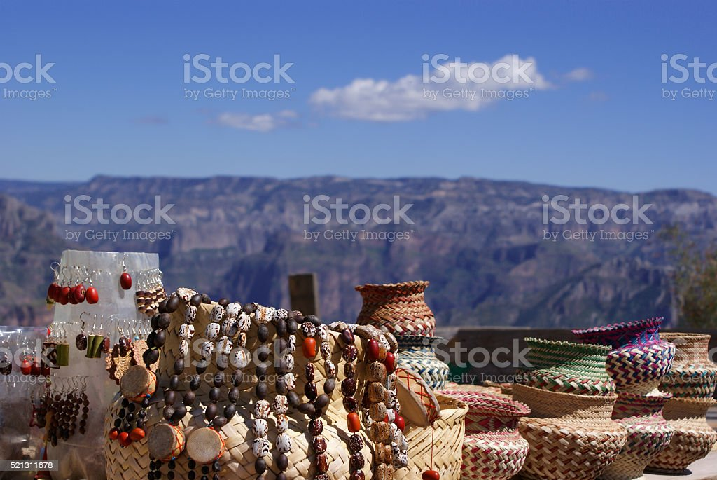 Tarahumara made souvenirs sold in the Copper Canyons, Chihuahua, stock photo