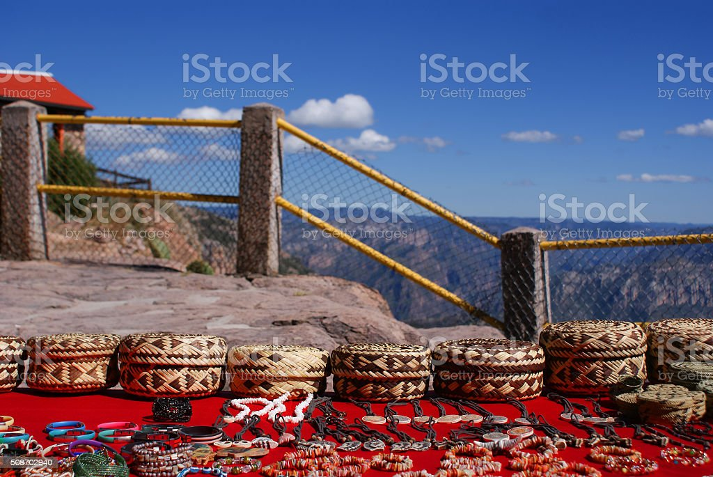 Tarahumara made souvenirs sold in the Copper Canyons, Mexico stock photo