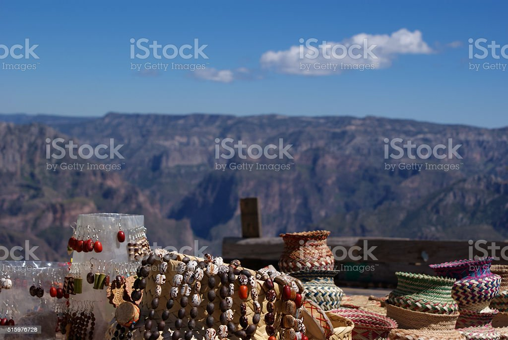 Tarahumara raramuri made souvenirs sold in the Copper Canyons, C stock photo