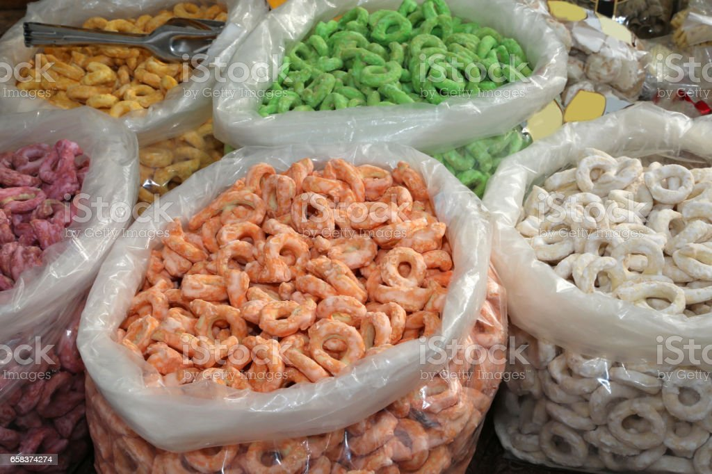 tarallini of many colors on sale in the bakery of southern Italy stock photo