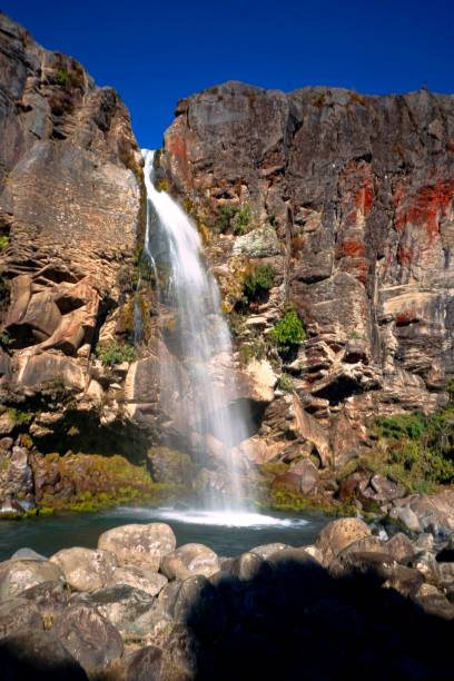 Taranaki Falls, Waterfall in Tongariro National Park, New Zealand stock photo