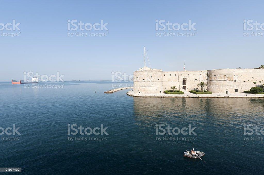 Taranto (Puglia, Italy) - Old castle on the sea stock photo