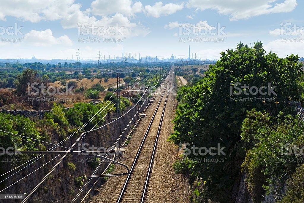 Taranto, railway to industrial area stock photo