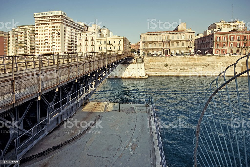 Taranto swingbridge stock photo