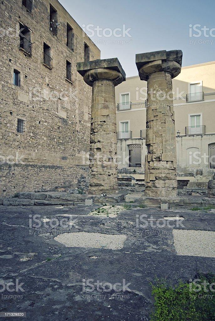 Taranto, two greek columns stock photo