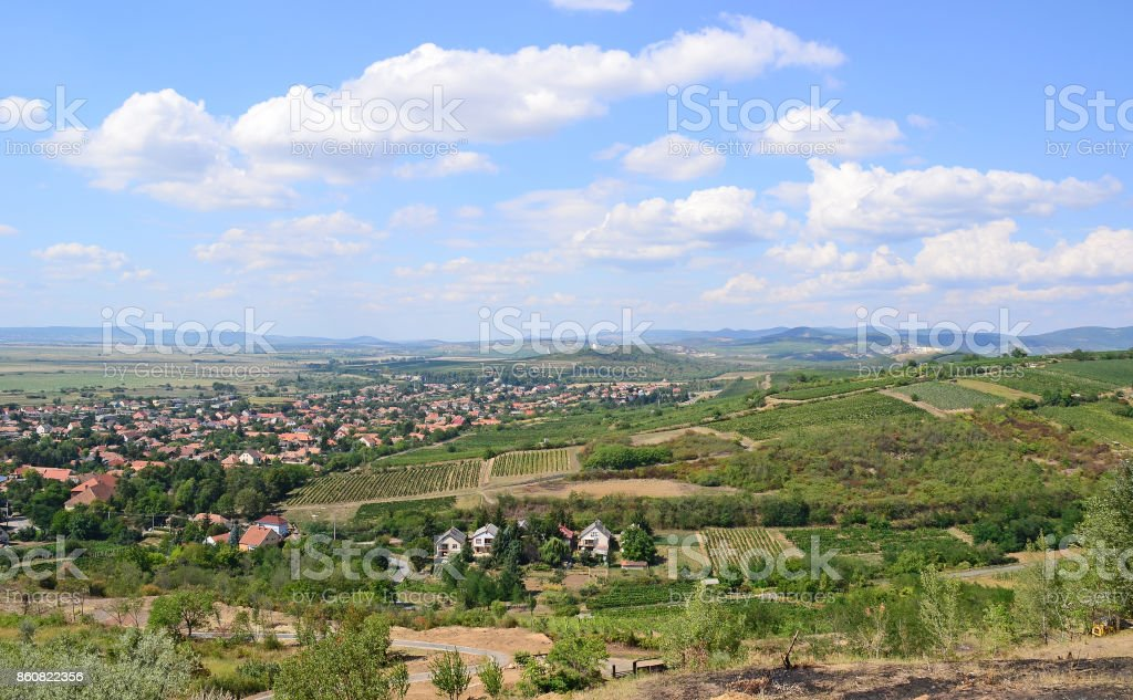 Tarcal city in the dell, Hungary stock photo