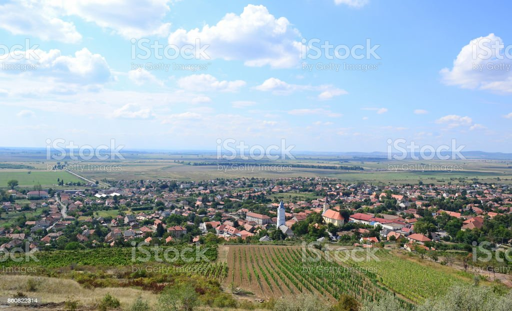 Tarcal village in the dell, Hungary stock photo