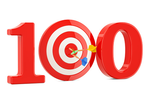 istock Target 100, success and achievement concept. 3D rendering isolated on white background 858354940