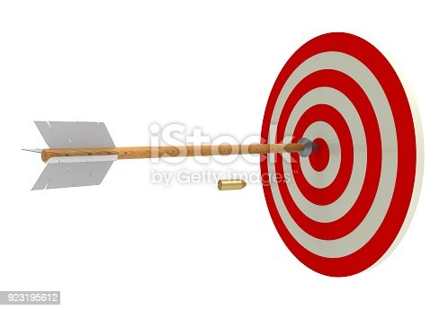 919544754 istock photo target and an arrow and bullets approaching to it. Training shooting. Shots. 3D rendering. Archery 923195612