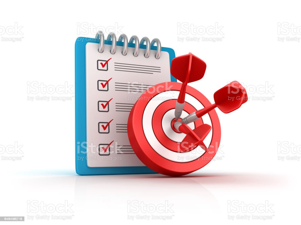 Target and Darts with Checklist Clipboard - 3D Rendering stock photo