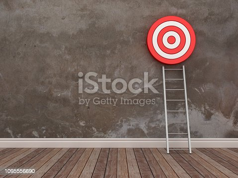 1014851458 istock photo Target and Stair in Room - 3D Rendering 1095556690