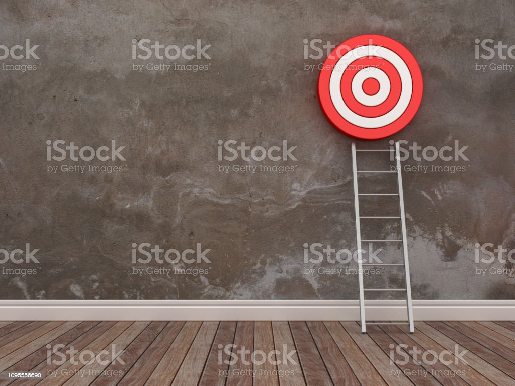 Target and Stair in Room - 3D Rendering stock photo