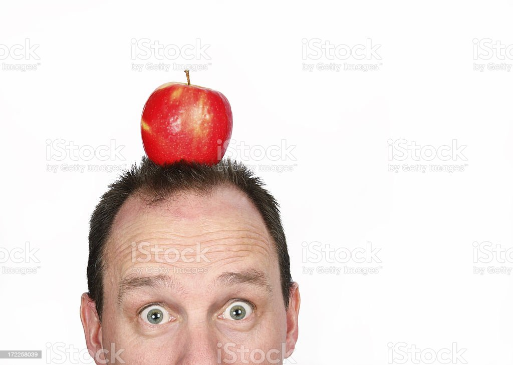 Target Apple On Man's Head royalty-free stock photo