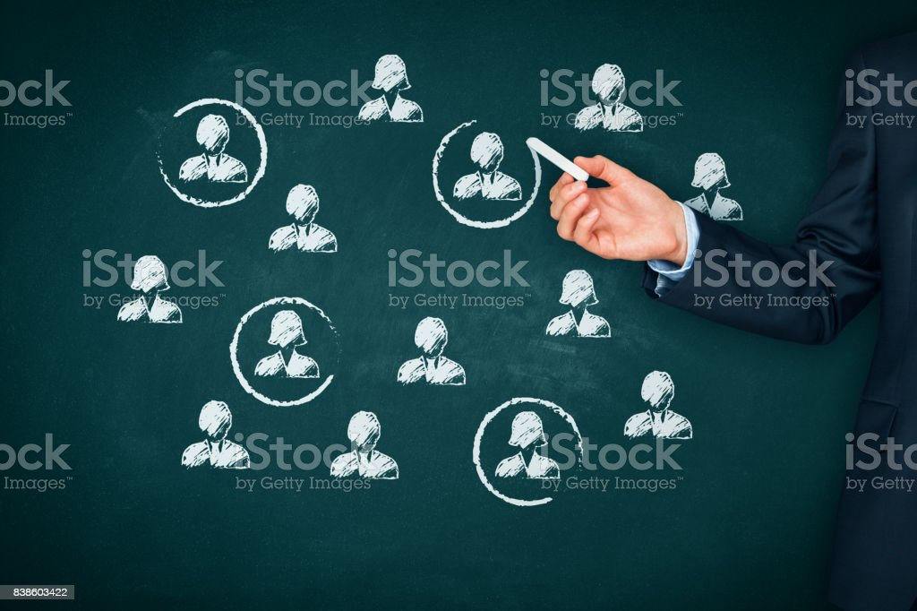 Target audience, market segmentation and team building concepts stock photo
