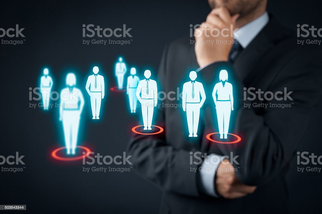Target audience Target audience (marketing) concept. Businessman think about target audience and customers. Adult Stock Photo